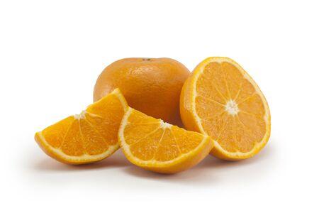 appetising: Fresh orange isolated on white background.