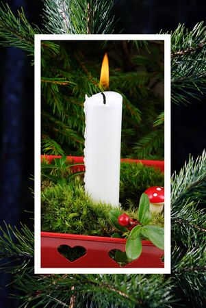 congregate: Christmas collage with a lit candle separated by white lines