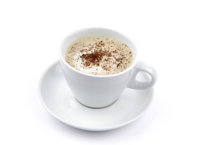 Cappuccino or latte in a white coffee cup photo
