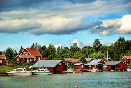 overnight stay: A beautiful view from the Swedish archipelago Stock Photo