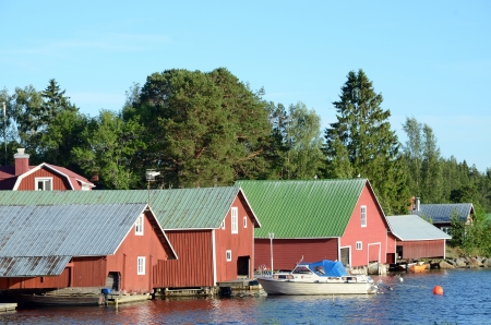 boathouse: Beautiful red painted boathouse in Sweden Editorial