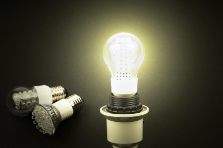 Energy efficient, effective LED lights on a white background photo