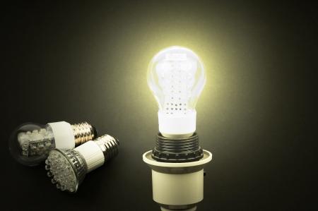 lighting background: Energy efficient, effective LED lights on a white background Stock Photo