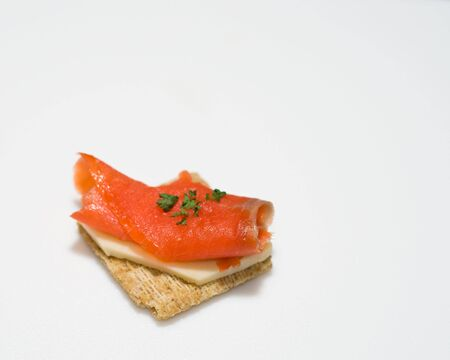 Smoked salmon snack Stock fotó