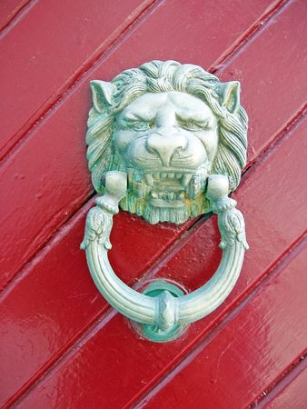 archtecture: door knocker - Hydra, Greece       Stock Photo