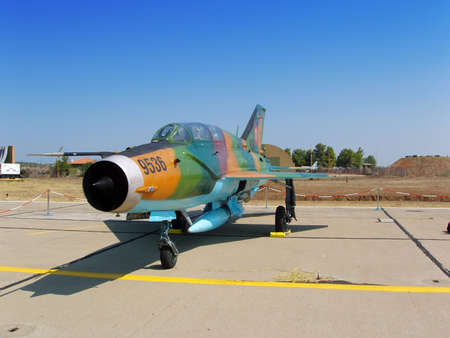 mig: Russian mig airplane of Romanian air force at airshow