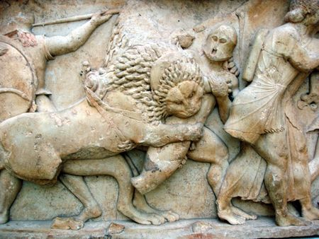 greek gods: Ancient Greek Frieze Detail- Battle of Gods vs Giants