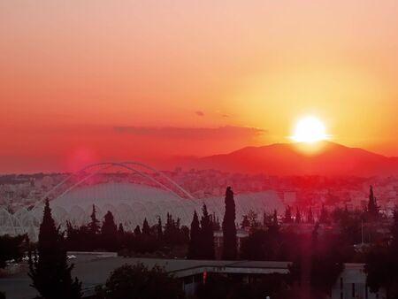 velodrome: Sunset over Velodrome - Athens, Greece Stock Photo