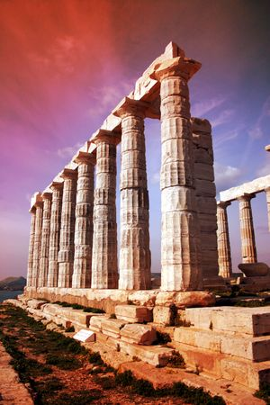 Row of doric columns - Temple of Poseidon - Cape Sounio, Greece