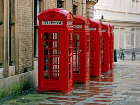 Londres cabinas de tel�fono - Comunicaci�n  Foto de archivo