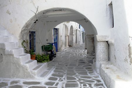 Whitewashed homes on the island of Paros, Greece