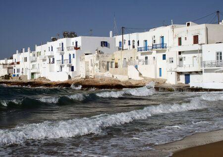 verandas: Whitewashed homes at the island of Paros, Greece