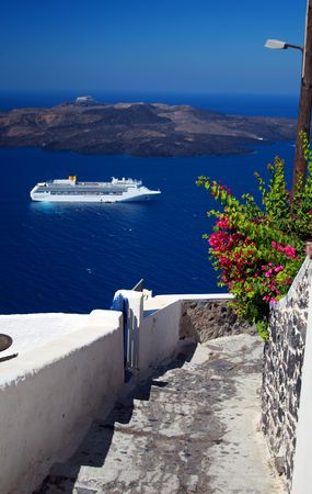 Steps, cruise ship, and volcano -Santorini, Greece