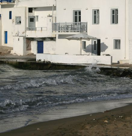 Naoussa beach and homes - Paros island, Greece Stock Photo - 1950430