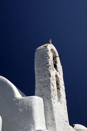 Traditional greek cycladic church detail - Mykonos, Greece photo