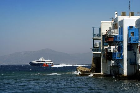 Mykonos small venice and high speed ferry departing - Greece Stock Photo - 1951518