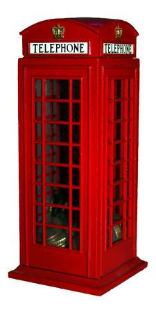 Traditional London Phone Booth - Coin Bank - Isolated on white background photo