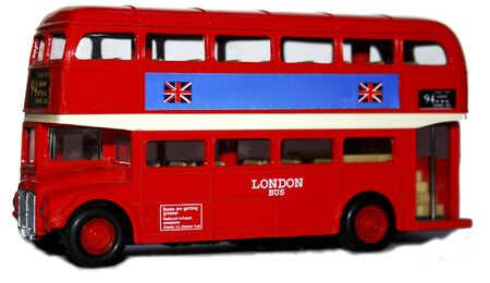 double decker: London Double Decker Bus - UK - Isolated on white background Stock Photo