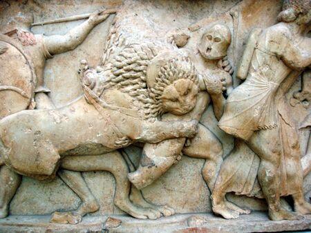 friso: Ancient friso griego de la guerra entre dioses y gigantes  Foto de archivo