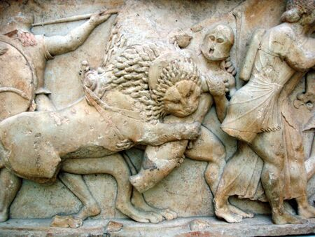 Ancient greek frieze of the war between gods and giants