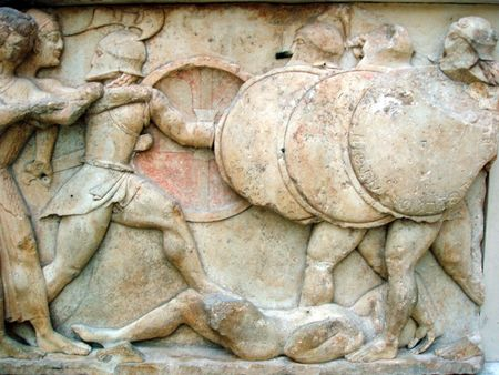 Ancient greek frieze of the war between gods and giants