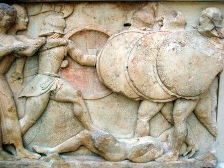friso: Friso griego antiguo de la guerra entre dioses y gigantes Foto de archivo