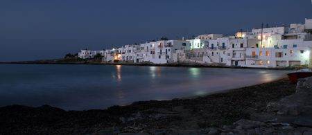 View of the town of Naoussa at night. Naoussa is  famous for its night life and cosmopolitan crowd - Paros Island, Greece photo