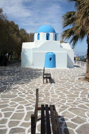 well known: Greek orthodox church of Agios Nikolaos (Saint Nick) in Paroikia.  Paros island, Greece