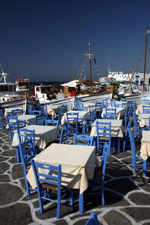 View of the town of Naoussa on Paros Island, fanous for its night life and cosmopolitan crowds - Greece