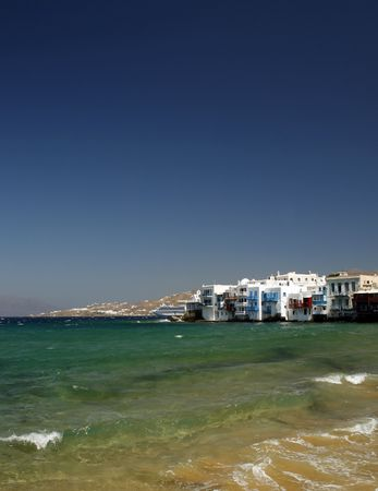 The area of the town of Mykonos fondly known as Little Venice - Greece Stock Photo - 2017666