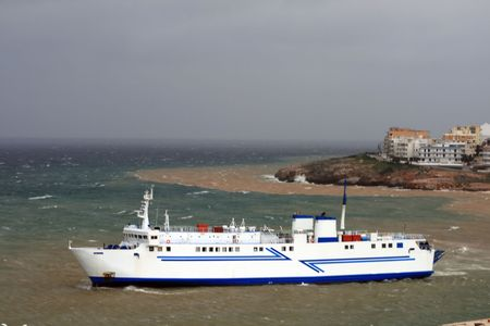 Ferry approaching harbor in storm- Rafina, Greece Stock Photo - 2017669