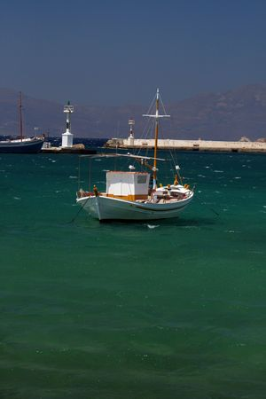 he old: Traditional greek fishing boat at he old harbor of Mykons, Greece