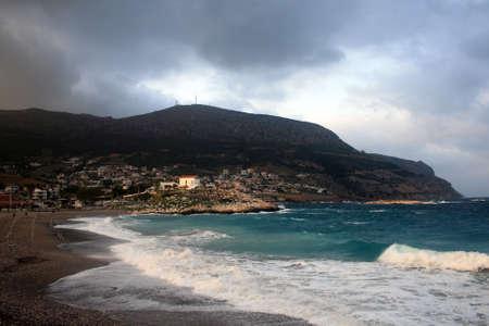 Stormy beach in the winter - Kakia Thalassa Beach near Athens, Greece photo