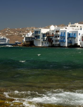 The area of the town of Mykonos fondly known as Little Venice - Greece Stock Photo - 2017675