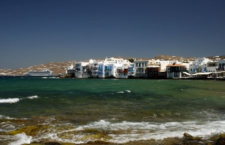 The area of the town of Mykonos fondly known as Little Venice - Greece Stock Photo - 2017699