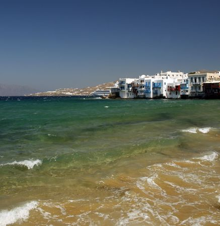 The area of the town of Mykonos fondly known as Little Venice - Greece Stock Photo - 2017670