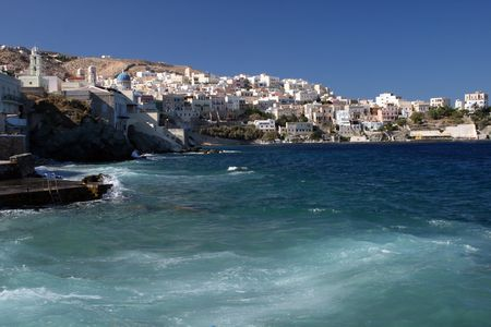 View of the capital of Cyclades, Ermoupoli - Syros island, Greece photo