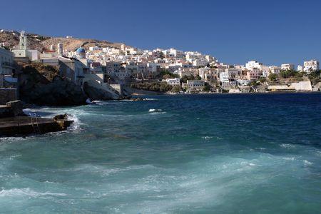 Vista de la capital de las C�cladas, Ermoupoli - isla Syros, Grecia
