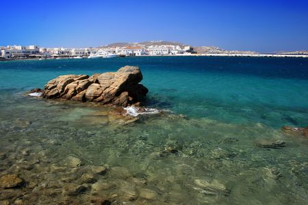 Rocky beach on the island of Mykonos, Greece Stock Photo - 2017764