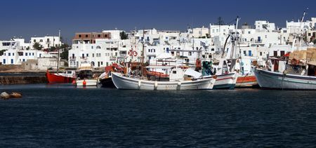well known: View of the old harbor of Naoussa on Paros Island, Greece Stock Photo