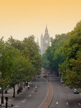 London on a foggy monring with Big Ben seen in the distance Stock Photo