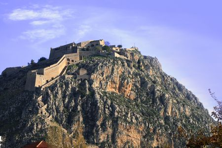 nauplio: Palamidi castle of Nauplio, Greece.  You need to climb 999 steps to get to the top! Stock Photo