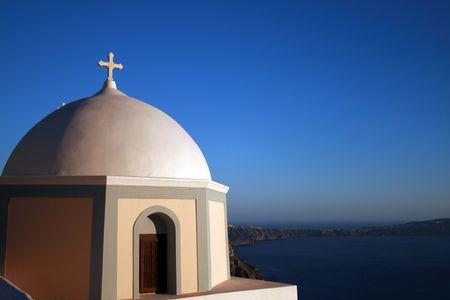 archtecture: Traditional greek orthodox church, Santorini Island - Greece