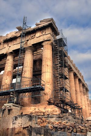 tedious: Athens, Greece - Details of the tedious restoration project of the Parthenon marbles.