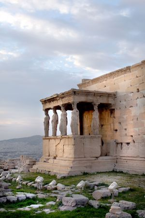 Athens, Greece - View of the Erechtheum, temple on the north side of the Acropolis dedicated to Athena and Poseidon Stock Photo