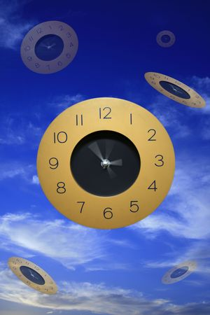 Flying clocks in cloudy blue sky abstract Stock Photo