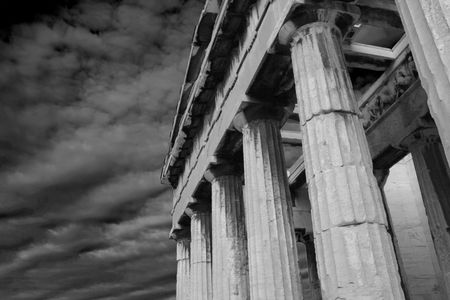 Athens, Greece - Black and white photo of the  Temple of Hephaestus at the ancient agora of Athens