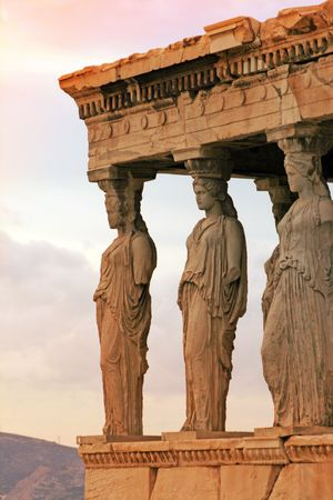 Athens, Greece - Caryatids, sculpted female figures, used as columns to hold portion of the roof of the erechtheum.  Located on the north side of the Acropolis. photo