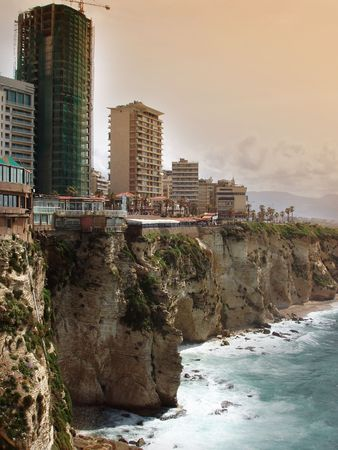 View of the shoreline of Beirut, Lebanon