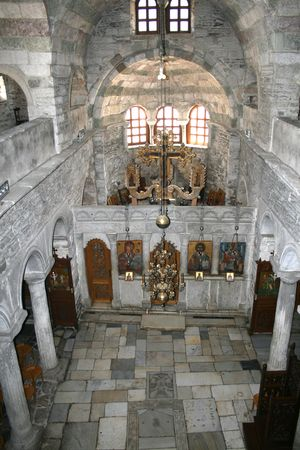 holy mary: Paros, Greece - Interior of the Church of Panagia Ekatontapyliani (Church Holy Mary of a Hundred Doors)  founded by the mother of the Byzantine Emperor Constantine the Great Stock Photo